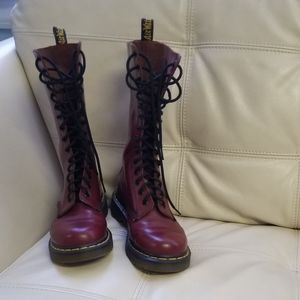 Dr. Martens 1914 wine colored maroon 14 eye boots